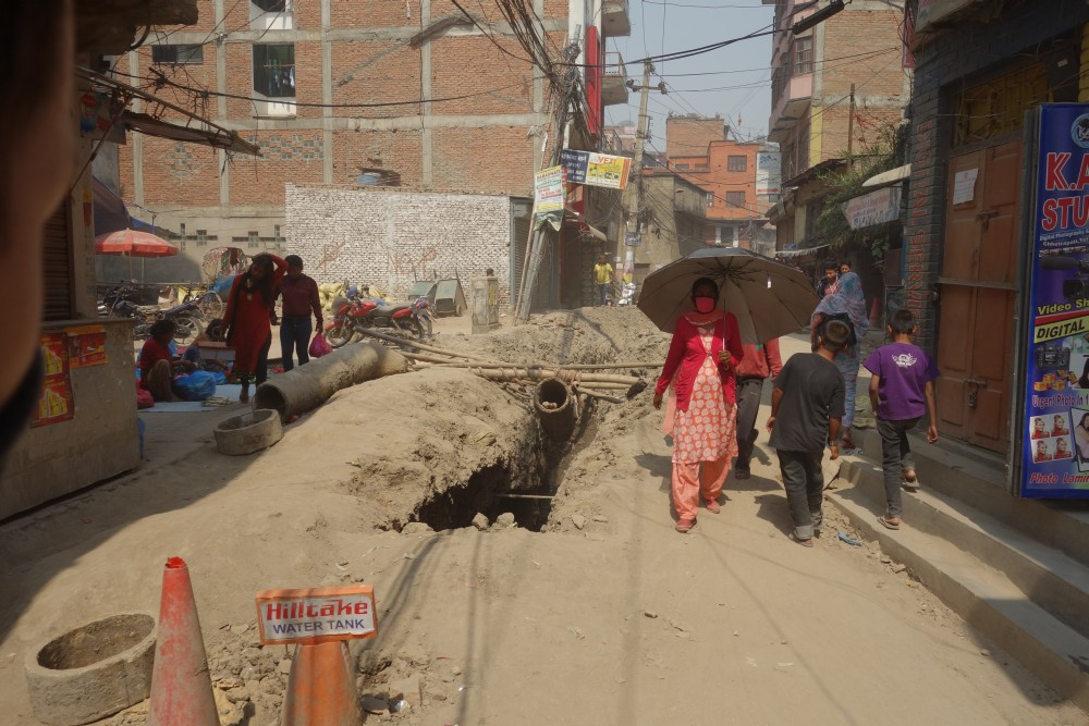 Normale Straßenverhältnisse in Kathmandu