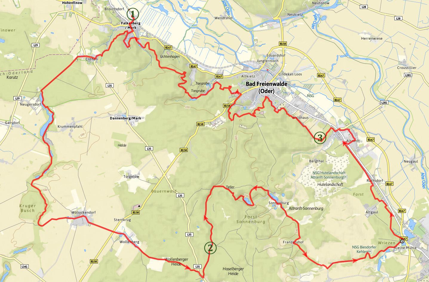 Karte Oderlandweg